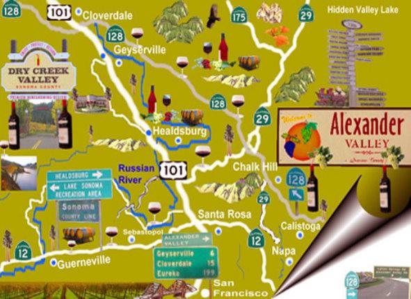 Wine Country Private ToursNapa Valley Wine TourSonoma Wine Tour - Napa vineyards map